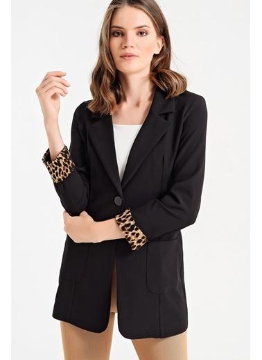 Jument Yakalı Cepli Uzun Kol Katlamalı Blazer Kumaş Ceket-Lacivert Siyah